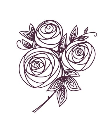 Roses. Stylized flower bouquet hand drawing. Outline icon symbol. Present for wedding, birthday invitation card.