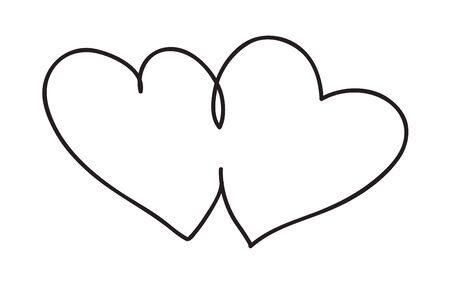 Hearts. Continuous line art drawing. Love and friendship concept. Black and white vector illustration