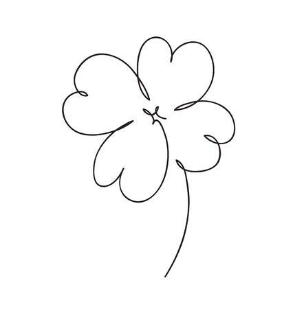 Saint patrick clover leaf, Continuous line art