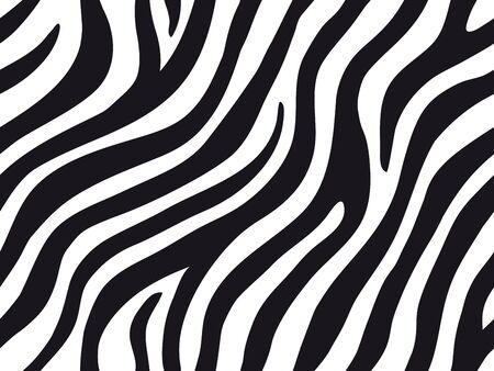 Zebra stripes seamless pattern. Tiger stripes skin print design. Wild animal hide artwork background. Black and white vector illustration. 矢量图片