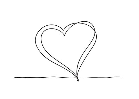 Continuous line art drawing. Couple of hearts  イラスト・ベクター素材