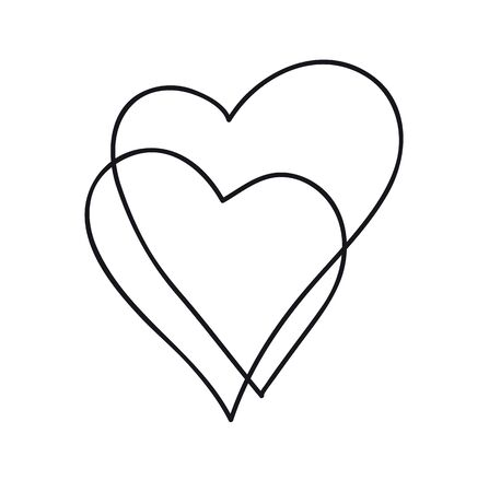Continuous line art drawing. Couple of hearts symbolize love. Abstract hearts woman and baby. Vector illustration
