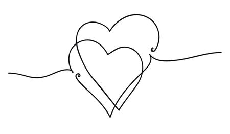 Continuous line art drawing. Couple of hearts symbolize love. Abstract hearts woman and baby. Vector illustration.  イラスト・ベクター素材