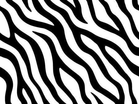 Zebra stripes seamless pattern. Tiger stripes skin print design. Wild animal hide artwork background. Black and white vector illustration