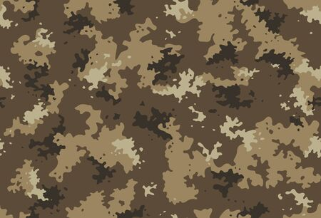 Seamless classic camouflage pattern. Camo fishing hunting vector background. Masking yellow brown beige color military texture wallpaper. Army design for fabric print Çizim