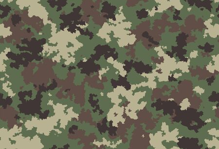 Seamless classic camouflage pattern. Camo fishing hunting vector background. Masking green brown beige color military texture wallpaper. Army design for fabric paper vinyl print Çizim