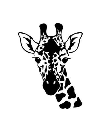 Giraffe head. Wild animal artwork design.