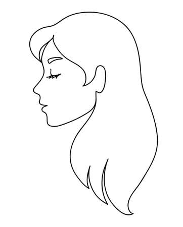 Woman profile with long hair.
