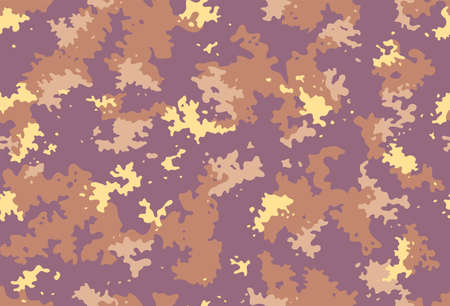 Seamless classic camouflage pattern. Camo fishing hunting vector background. Masking yellow brown beige color military texture wallpaper. Army design for fabric print Vecteurs