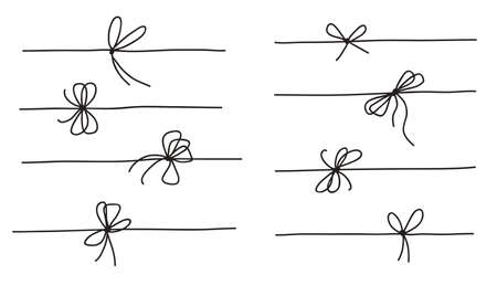 Rope bow collection isolated on white background. Hand drawn vector illustration set. 矢量图像