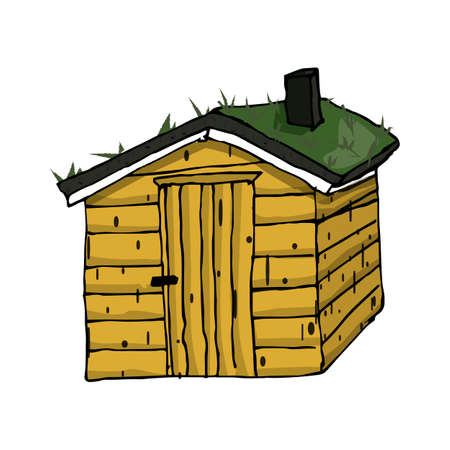scandinavian wooden yellow house with green grass on the roof on white background