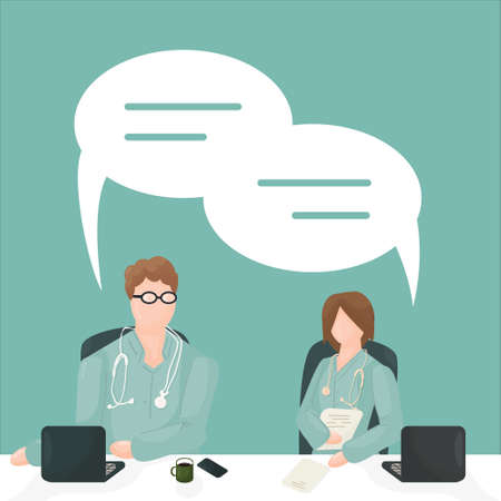 vector isolated characters doctors, medical workers in green clothes, one person with laptop, another person with notebook on grean or blue background, they have dialogue meeting with dialog boxes