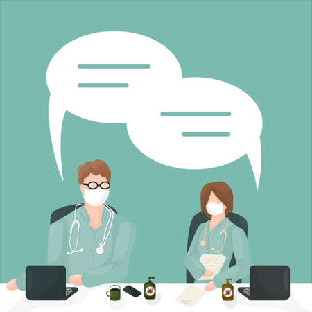 vector characters doctors, medical workers in green clothes, one person with laptop, disinfection, masks, another person with notebook on blue background, they have dialogue meeting with dialog boxes