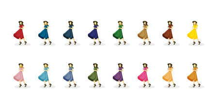girls or women in colorful dresses, hat and platform sandals. Red, orange, yellow, green, blue, blue, purple, purple, brown, pink clothing. The wind blows up the skirt. Silhouette isolated