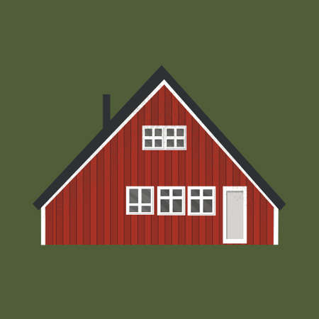 canadian and scandinavian red house icon with black roof and white windows on green background for rent Ilustração