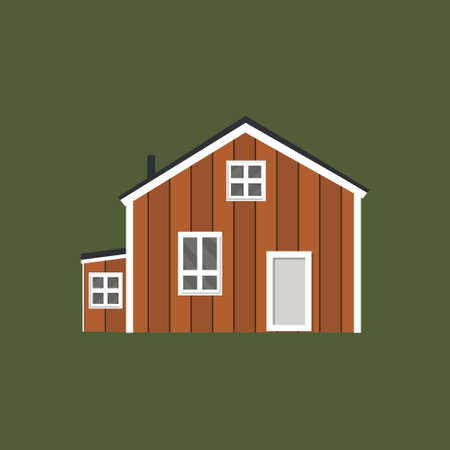 canadian wooden and scandinavian yellow house icon with black roof on green background