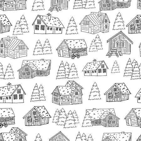 Black white set of houses and christmas trees for coloring book or card seamless pattern