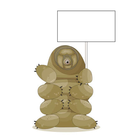 Brown cute adorable cartoon tardigrade character holds empty text box or white board in hands for some message