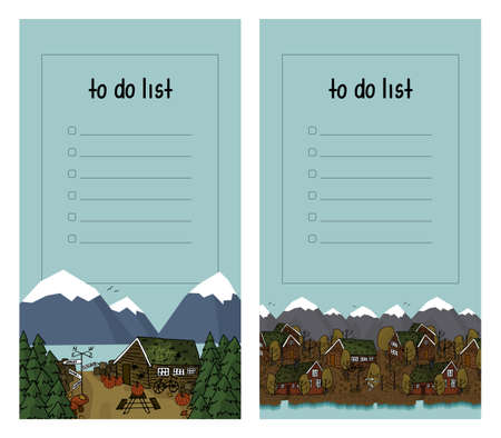 To do list with wooden scandinavian brown cozy houses, mountains, river in autumn on blue background