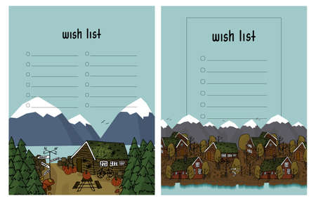 Wish list template on blue background with scandinavian wooden houses, mountains, river, trees, bench, table christmas trees