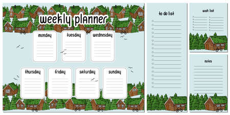 Weekly planner from Monday to Sunday, to do and wish list, notes with wooden houses and forest, christmas trees and bikes 版權商用圖片