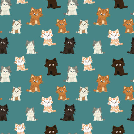 Small red white brown happy friendly hand drawing cartoon character cat or kitten on blue or green background seamless pattern