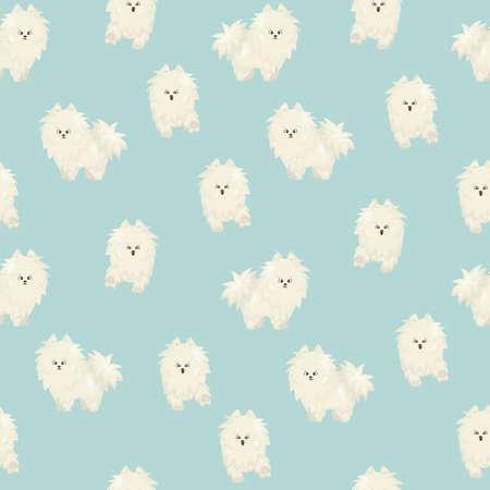 White fluffy cute cartoon happy dog on blue background seamless pattern