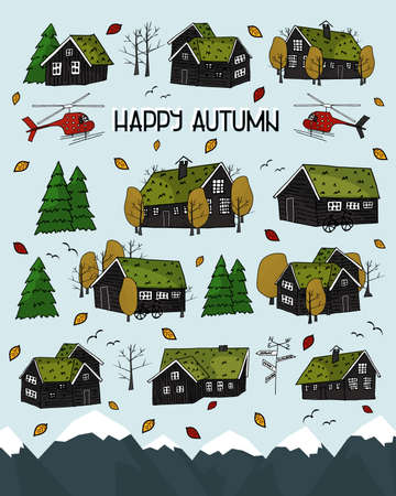 Set of Black scandinavian greenlandian wooden houses, trees and forest, grass on the roof with white borders and Happy autumn text