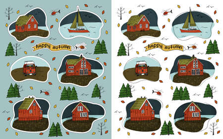 Wooden house, helicopter, Christmas trees, forest, inscription Happy Autumn, yacht, bus and bike stuff isolated on a blue white background for stickers with white border