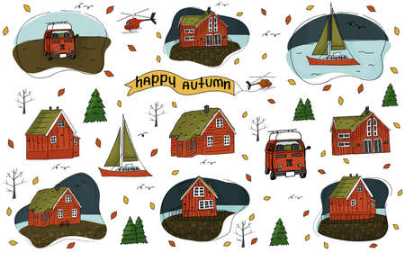 Set of Wooden houses, helicopter, Christmas trees, inscription Happy Autumn, yacht caravan, travel trailer, camper or camper trailer and bike stuff isolated on a white background for stickers Vectores