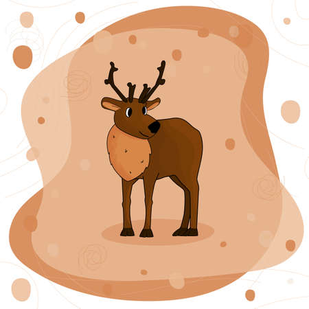 Cute hand drawn cartoon isolated single deer with antlers or caribou on brown background