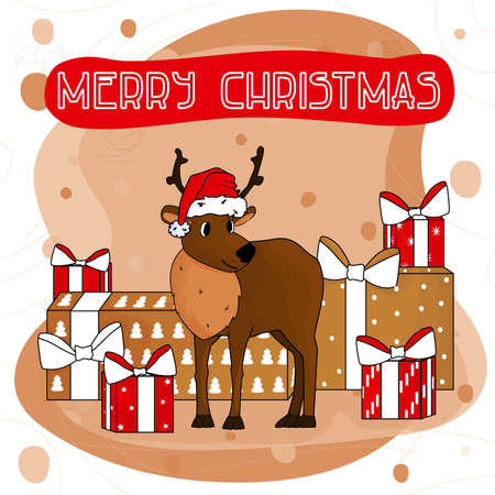 Merry Christmas text with Cute hand drawn cartoon deer in Santa Claus hat with red and golden gifts for holidays for greeting card