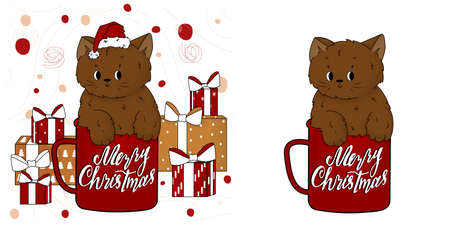 Cute cartoon hand drawn brown kitten or cat in the red and white Merry Christmas cup in Santa Claus hat with gifts