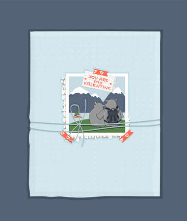 Blue You are my Valentine text, photo of the couple of hippos on vacation in mountains, washi tapes, newspaper piece of paper. Blue gift with holiday paper with thread tied with a bow