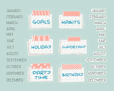 List of months from January to December for planning or calendar. Holiday, Birthday, Party time, Important, Goals, Habits text on the squared paper, patterned washi tape with piece of newspaper