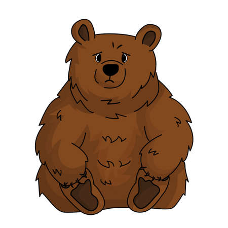 Hand drawn cute brown sad bear grizzly sits and holds his paws because of stress. Animal is isolated on white background