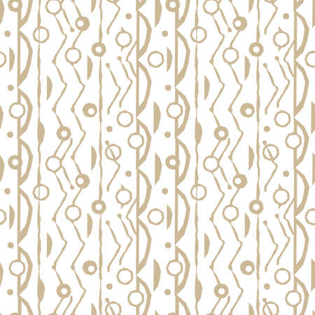Vertical abstract white and beige seamless pattern with random rough, twisted part of triangles or broken lines, circles shapes