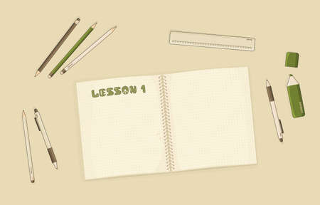 Vector outline Notebook or exercise book with dots for summary notes for mockup or start of some hobby, education, pen, pencil, marker, ruler are on the table in room. Lesson number one is written