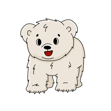 Vector cartoon little polar bear cub stands on all legs and smiles. Outline Animal is isolated on white background