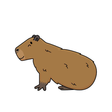 Vector brown cute cartoon outline Capybara smiles and lying on the ground, eyes closed, dreaming or sleeping. Doodle isolated illustration of animal is on white background, side view