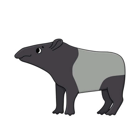 Vector cute outline doodle cartoon Malayan or Asian tapir. Isolated hand drawn illustration on white background, side view. Tapir looks to the left