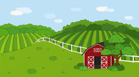 Summer or spring farm doodle concept in countryside. Cartoon vector cute Red barn with open doors, white fence and clouds, green field, planted plantations, bushes and plants for animal life