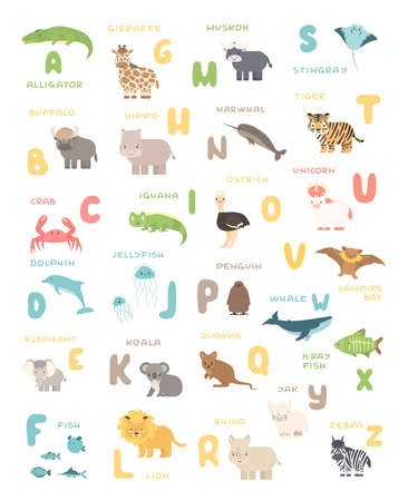 Cute cartoon simple savannah and forest animals and English alphabet poster. Vector educational illustration on white background