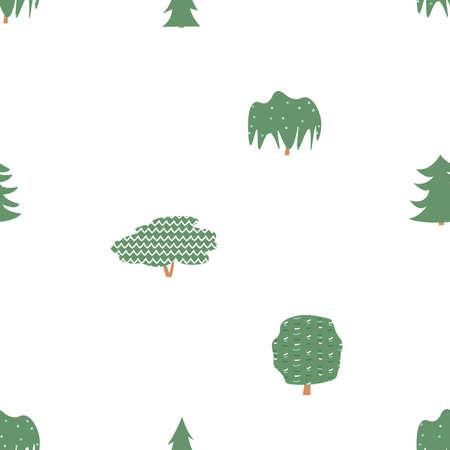 Green trees seamless pattern. Vector larch, willow alder, maple, oak illustration on white background Ilustración de vector
