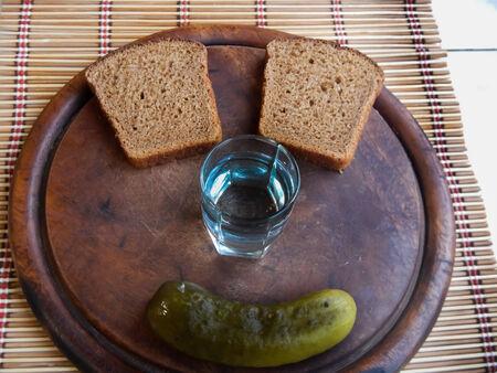 National Russian vodka bread cucumber Stock Photo