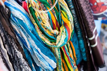texture of bright shawls at the bazaar Stock Photo