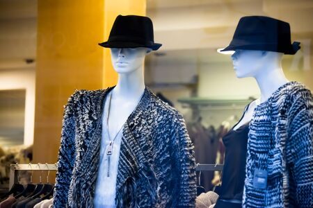 fashionable clothes on mannequins in shop hats