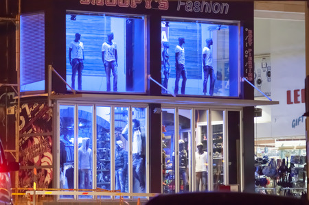 clothing store: clothing store display lighting at night Stock Photo