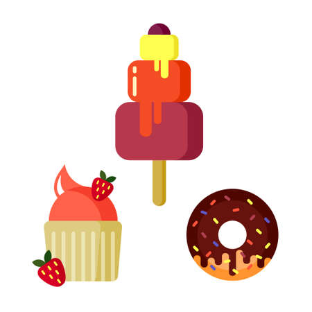 Desserts and pastry cakes vector flat set. Sweet cupcake, chocolate ice cream and fruit muffin. Vector illustration.