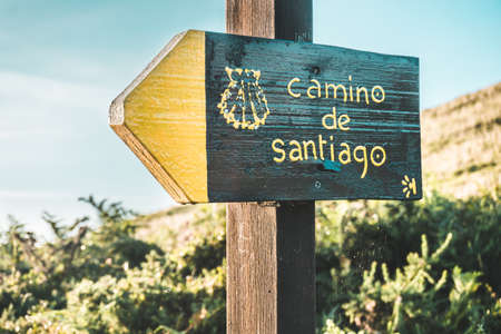 Poster or sign of the Camino de Santiago at sunset in the middle of nature as it passes through Cantabria